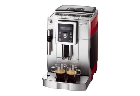 super kaffee vollautomat de longhi ecam silber rot farbe ebay. Black Bedroom Furniture Sets. Home Design Ideas